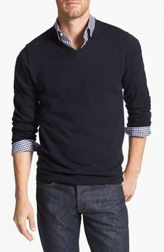 Wallin & Bros. Trim Fit V-Neck Cotton & Cashmere Sweater | Nordstrom