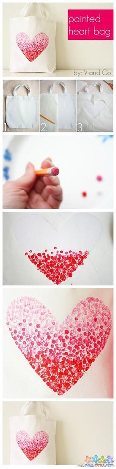 a pencil eraser and inkpad beautiful heart-shaped pattern  필 지우개로 하트 만들기