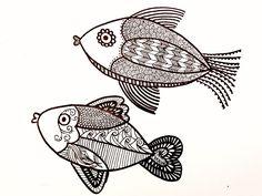 Zentangle fish drawing