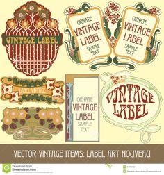 Illustration of vintage items label art nouveau vector art, clipart and stock vectors. Art Nouveau, Vintage Labels, Vintage Items, Label Art, Vector Art, Clip Art, Stock Photos, Illustration, Creative