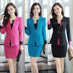 Nuevo 2015 primavera verano moda mujer trajes con falda y chaquetas para mujer trajes de negocios trabajo uniforme azul Blazers