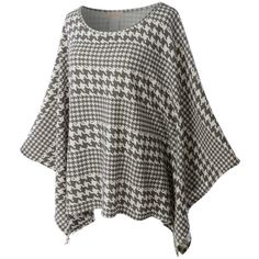 LE3NO Womens Textured Houndstooth Print Batwing Sleeve Poncho Cape (33 SGD) ❤ liked on Polyvore featuring outerwear, cape coat, houndstooth cape coat, lightweight poncho, poncho cape and houndstooth cape