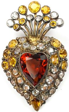 Hobe Sterling Gold Filigree Citrine and Diamante Stones and Topaz Heart Pin, 1945-46