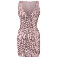 #RoseGal.com - #RoseGal Plunging Neck Sleeveless Sequined Bodycon Dress - AdoreWe.com