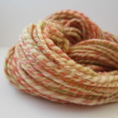 Handspun Yarn, Merino Wool,  BFL, Silk, and More, 2 ply, 146 yards/3.5 oz Pumpkin Curry. $30.00, via Etsy.