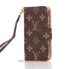 a52c6afa4b76 LV iPhone 6 Case Wallet Stand Leather Cover Brown