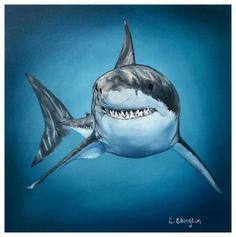 Great White Shark Chelsea Elkington Neal oil on canvas 2019 Animal Paintings, Animal Drawings, Hai Tattoos, Shark Pictures, Shark Photos, Shark Painting, Shark Art, Ocean Creatures, Tatoo