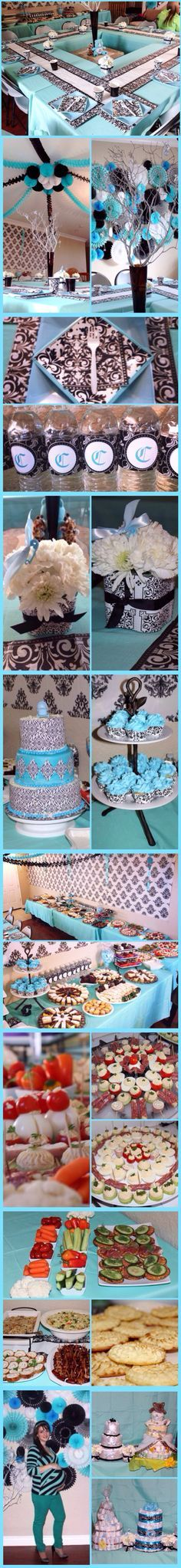 Damask Baby Shower for BOY - Teal, Black, & White. My husband did a fabulous job with the set up!