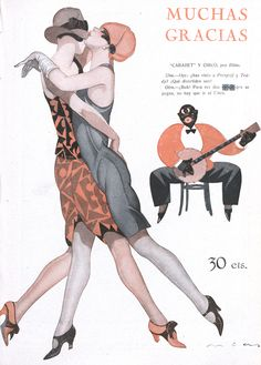 Federico Ribas   Art Deco flappers and a cringe worthy racial caricature: the duality of the 20s in one image.