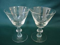 1940s Barware, Floral, Etched, Crystal Stemware, Cordial Glasses, Cocktail…