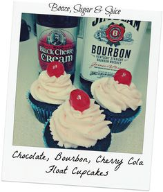 Chocolate Bourbon Cherry Cola Float Cupcakes by Booze, Sugar & Spice
