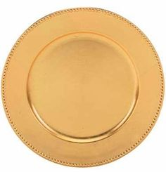 """Round Acrylic Gold Beaded Charger Plate, 13"""""""