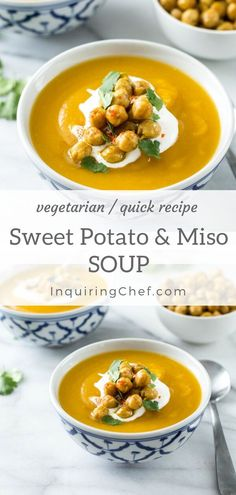 Sweet Potato Soup with Miso - This unique twist on sweet potato soup is full of exotic flavors and warming spices. A few specialty ingredients make this easy, comforting soup extra special. Chili Recipes, Quick Recipes, Easy Healthy Recipes, Easy Dinner Recipes, Soup Recipes, Gumbo Recipes, Savoury Recipes, Potato Recipes, Delicious Recipes