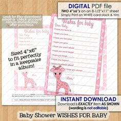 Pink Giraffe Baby Shower Wishes for Baby Advice Cards by monkeyhut Pink Giraffe, Baby Shower Giraffe, Baby Shower Wishes, Wishes For Baby, Sticker Printer Paper, Advice Cards, Baby Design, Invitation Design, Baby Shower Invitations