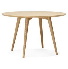 Naturel houten, ronde eettafel 'SWEDY' in Scandinavische stijl