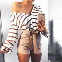 White and Brown Striped Blouse with Brown Shorts #SummerStyle