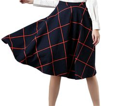 Joyci Women's Classic Plaid Midi Skirt High Waist Skater Swing Skirt ** This is an Amazon Affiliate link. Visit the image link more details.