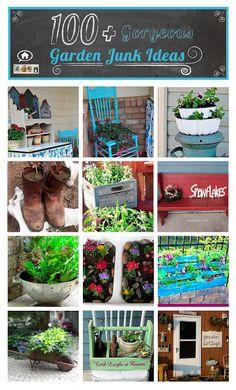 100 gorgeous garden junk ideas - My Backyard Now Garden Posts, Garden Junk, Garden Yard Ideas, Garden Crafts, Lawn And Garden, Garden Projects, Garden Art, Garden Landscaping, Garden Design
