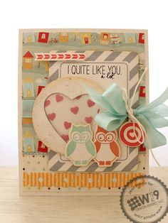 layered background; circle with heart punch with vellum between hole & hearts; WPlus9 diagonal frame - love it! bullseye heart on bow