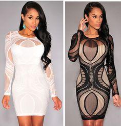 women lace elastic long sleeve bandage dress good quality plus size S to XL 5 colors