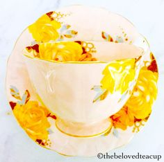 Aynsley Yellow Cabbage Rose Molded Crocus Shape Tea Cup and