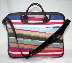 Cotton Kilim With Leather Messenger Bag Kilim Rugged Boho Hand bag Laptop Bag  #Handmade