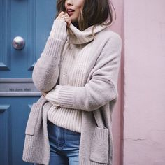 Aimee Song ⎮www.songofstyle.com⎮@songofstyle  //  wearing GLAMOROUS 'Cream Cable Knit Polo Neck Jumper' < www.glamorous.com @ukglamorous >