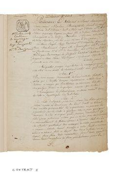 Contrat de mariage de Bonaparte et Joséphine, acte notarié, expédition authentique signée par maîtres Raguideau et Jousset, 1796, 3 pages 1/4 sur un bi-feuillet monté dans un portefeuille. Estimation : 80 000/100 000 €. Dimanche 21 septembre, Rueil-Malmaison. Osenat SVV. M. Nicolas.