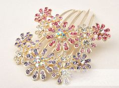 cream pearl and pink diamante hair comb - Google Search