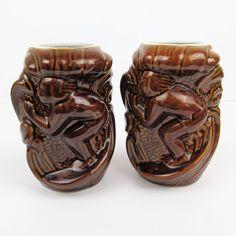 Vtg Tiki Mugs Set of 2 Daga Hawaii Surfer '60s Brown Glaze Ceramic 14 oz Aloha