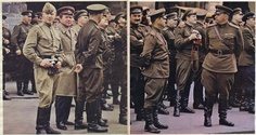 "Russian soldiers with Fed cameras (Soviet Leica copies). From The Sunday Times Magazine (UK) Dec 15 1968 - double page spread credited Philippe Le Tellier. The caption reads "".. sightseeing in Prague during their recent much - publicised visit"" - an ironic reference to the Soviet invasion of Czechoslovakia which ended the 'Prague Spring'. The camera on the left is a Fed 2. Prague Cz, Prague Spring, Warsaw Pact, The Sunday Times, Time Magazine, Cold War, Military Jacket, Cities, Fotografia"