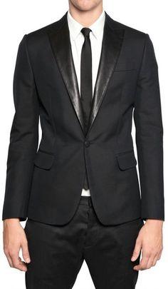 DSquared2 Leather Lapels Silk Cotton Tuxedo Jacket