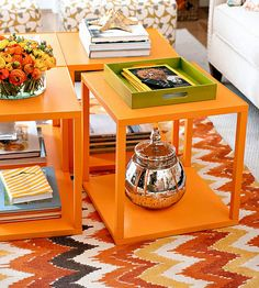 4 side tables instead of one large table =functional