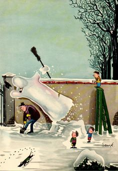 Sempé, Jean-Jacques Snowman Collapses on Man Shoveling Snow Winter Illustration, Christmas Illustration, Illustration Art, Vintage Comics, The New Yorker, Cool Cartoons, Cartoon Kids, Drawings, Artwork
