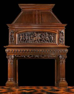 An Antique French Carved Walnut Trumeau Fireplace Surround Antique Fireplace Mantels, Victorian Fireplace, Mantles, Stove Fireplace, Fireplace Design, Fluted Columns, Victorian Interiors, Light My Fire, Fireplace Surrounds