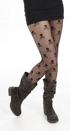 Pamela Mann Sheer Skulls Black Gothic Emo Fashion Tights | eBay