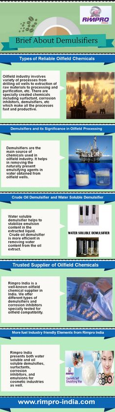 Infograph about demulsifiers including types of reliable oilfield chemicals, #demulsifiers and its significance in oilfield processing, crude oil demulsifier and water soluble demulsifier. Crude oil demulsifier is more capable in removing water content from the oil extract. Demulsifiers are the one of the main source of chemicals that used in oilfield industry. Kindly Visit at http://www.rimpro-india.com/contact-us.html.