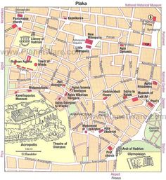 Athens - Plaka map - Tourist attractions
