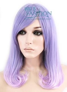 "16"" Medium Curly Two Tone Purple Ombre Fashion Synthetic Hair Wig CM19"