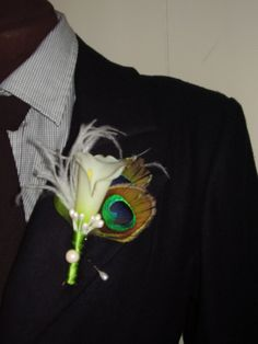 IVORY CALLA LILY    Flower Boutonnier With by WildCageDesigns, $16.00
