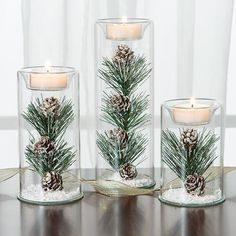 Winter Tealights Love this unique winter wedding centerpiece idea for a winter wedding. This would look beautiful as part of a wedding table set-up. Winter Wedding Centerpieces, Flower Centerpieces, Centerpiece Ideas, Christmas Centerpieces For Table, Winter Wonderland Centerpieces, Simple Elegant Centerpieces, Pinecone Centerpiece, Wedding Arrangements, Deco Table Noel