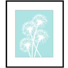 Dandelion Group - 8x10 Floral Print - Choose Your Colors - Shown in Soft Aqua, Light Blue, Light Green, Tan. and More on Etsy, $20.00