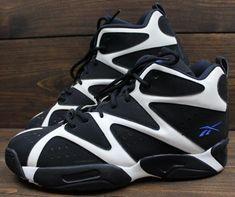 7e1a414f12bdb4 Reebok Kamikaze I Mid Shawn Kemp Sonics Black White Blue Shoes Sneakers  Size 12 Sneakers Box