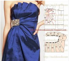 This illustration shows how the pleats are added to this dress Fashion Sewing, Diy Fashion, Ideias Fashion, Fashion Tips, Diy Clothing, Sewing Clothes, Dress Sewing Patterns, Clothing Patterns, Costura Fashion