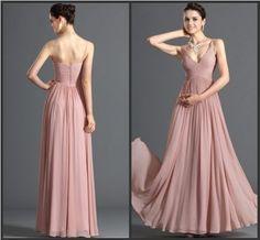 Nuevo de la columna del amor del Neckline vestido rosado suave Chiffon de la dama de honor de largo (XL08) de China - gran imagen para Vestido de la dama de honor en es.Made-in-China.com