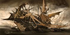 """Pirate Ship -. Concept art for """"The Spoils"""" Trading Card Game"""