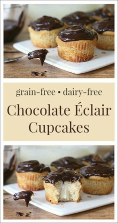 Chocolate Éclair Cupcakes {Grain-Free, Dairy-Free Option}