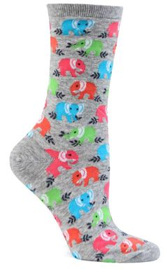 0c44c0f9c Crew length socks with brightly colored elephants all over - available in  pink or grey. Fits a women's shoe size
