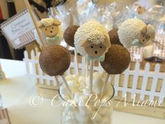 Burlap Cakepops little lamb baby shower little lamb Cakepops
