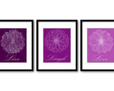 Royal Purple Plum Live Laugh Love Set of 3 Art Printable Flower Print Chrysanthemum Dahlia Peony DOWNLOAD Modern Bathroom Bedroom Wall Decor